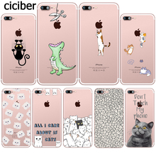 ciciber Case for iPhone 11 12 Pro XS Max X mini Case for iphone XR 7 8 6 6S PLUS 5S SE Soft TPU Funny Cute Animal Cat Cover Capa