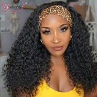 Younsolo Menschliches Haar Perücken Wasser Culry Welle Stirnband Perücken Brasilianer Remy Schal Perücke Glueless 8-28 Zoll für Schwarze Frauen