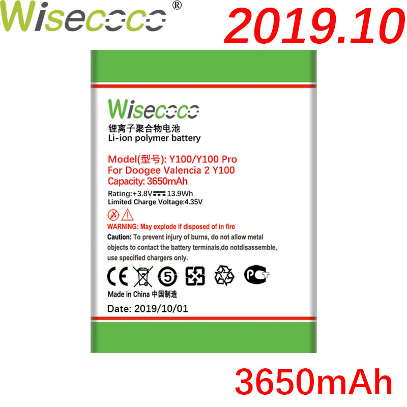 Wisecoco <font><b>Y100</b></font> <font><b>Pro</b></font> 3650mAh New Production Battery For <font><b>DOOGEE</b></font> <font><b>Valencia</b></font> <font><b>2</b></font> <font><b>Y100</b></font> Y 100 Phone Battery Replacement + Tracking Number image