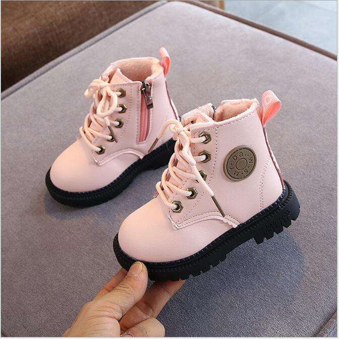 2020 Autumn/Winter Children Boots Boys Girls Leather Martin Boots Plush Fashion Waterproof Non slip Warm Kids Boots Shoes 21 30|Boots|   - AliExpress