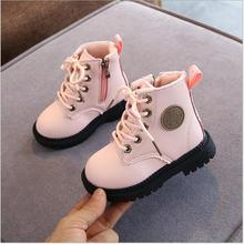 Otoño/Invierno 2020 botas niños niñas de cuero botas Martin botas de moda de felpa impermeable antideslizante caliente botas, zapatos para niños 21-30