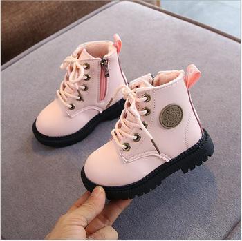 2020 Autumn/Winter Children Boots Boys Girls Leather Martin Boots Plush Fashion Waterproof Non-slip Warm Kids Boots Shoes 21-30
