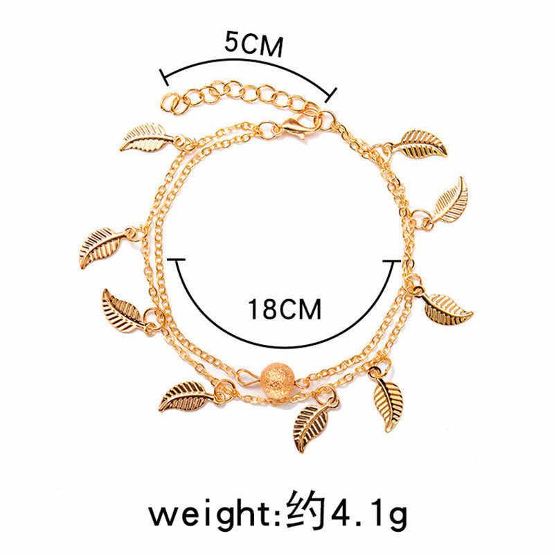 Нежный летний женский с кисточками листья двухслойный ножной браслет простые браслеты на ногу элегантные пляжные украшения