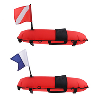 Scuba Diving Inflatable Float and Dive Flag for Surface Signalling, High Visibility Red Performance Waterproof & Portable