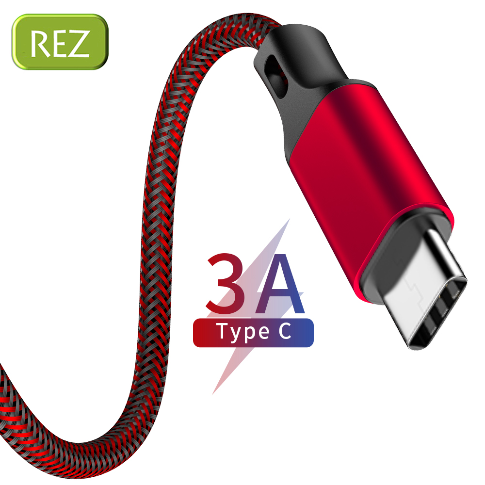 REZ USB Type C Cable to For Huawei Red Fast Charging Type-C kabel Usb Data Wire OPPO USB-C провод кабель