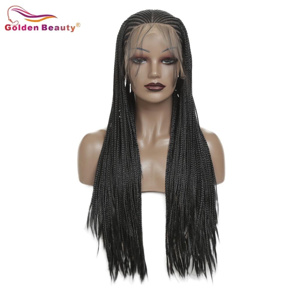 Длинный черный Плетеный парик, синтетические волосы для наращивания, парик на кружеве для женщин, косички в коробке, парик для волос, жарост