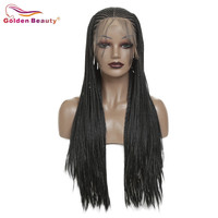 Braided Wig Long For Women Black Synthetic Hair Extension Lace Front Wig Box Braiding Hair Wig Heat Resisant Fiber Golden Beauty