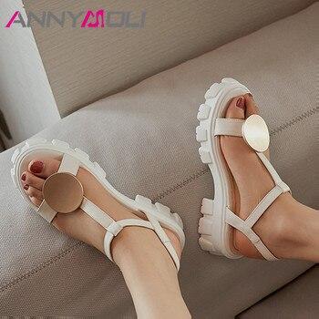 ANNYMOLI Real Leather Woman Sandals T-strap Flat Platform Shoes Buckle Strap Sandals Metal Decoration Lady Footwear Summer Beige