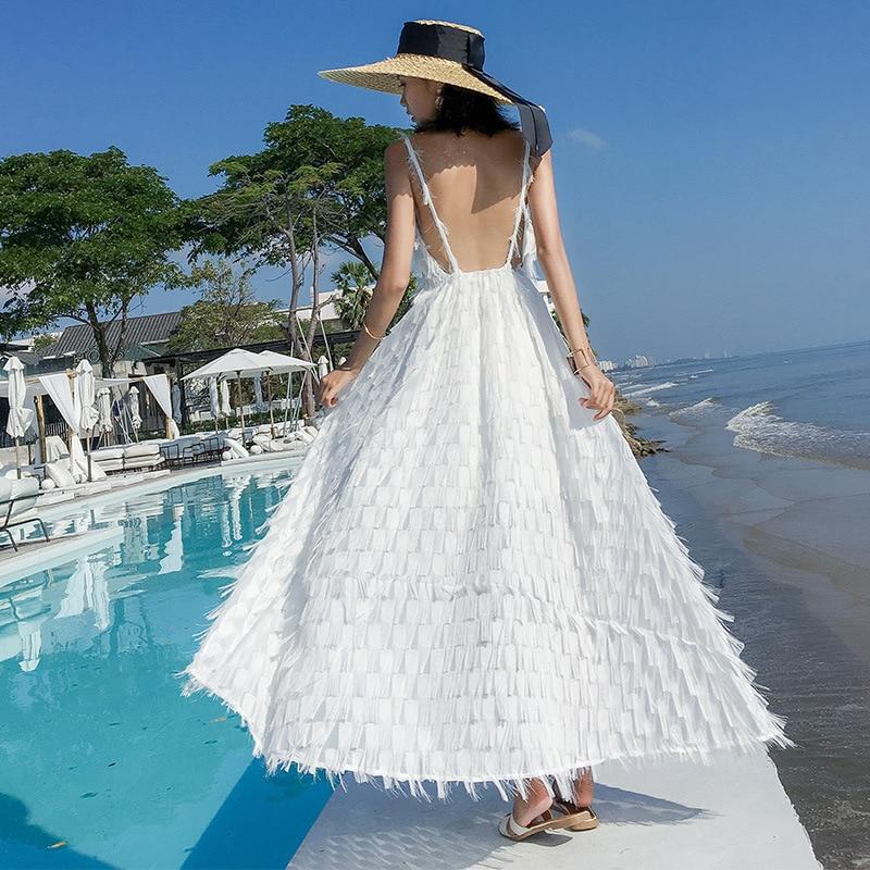 Photo Shoot Phuket Feather Tassels Dress Thailand Beach Skirt Backless Holiday Seaside Skirt Women's