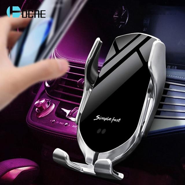 DCAE Automatische Spannen Wireless Car Charger 10W Quick Charge voor iPhone 11 Pro XR XS X 8 Samsung Qi snel Opladen Telefoon Houder
