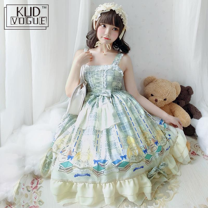 Sweet Lolita Dress Palace Princess Tea Party Gothic Vintage Lace Bowknot Cute Anime Printing Victorian Dress Kawaii Girl Top+jsk