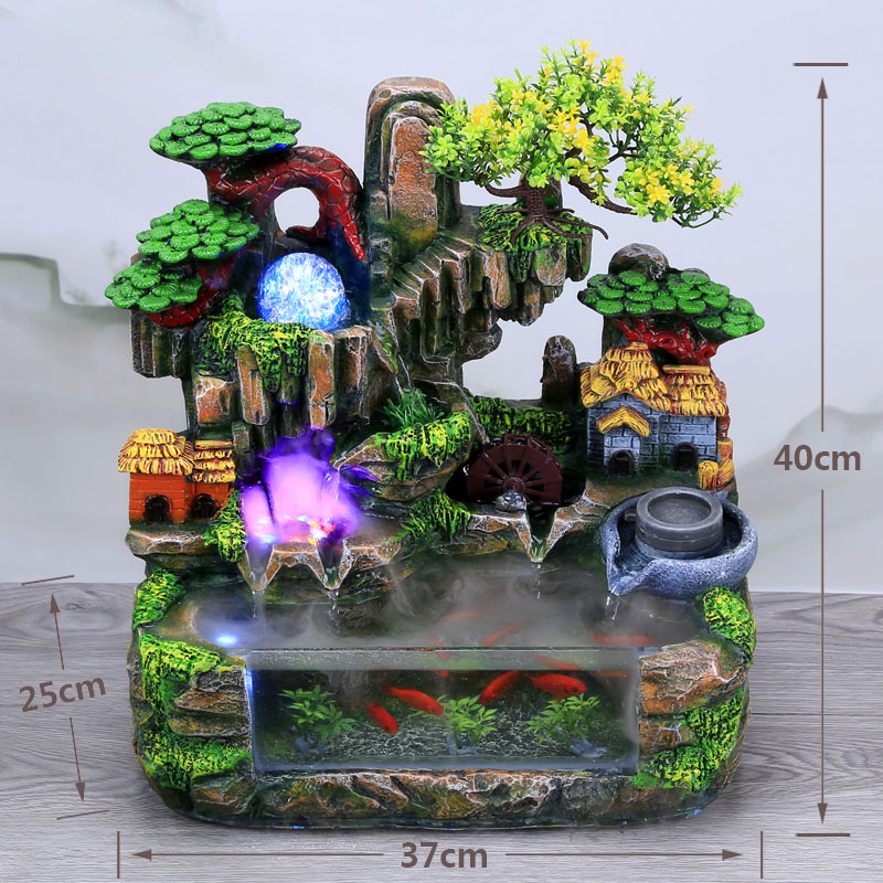 Creative Indoor Simulation Resin Rockery Waterscape Feng Shui Water Fountain Home Office Desktop Spray Humid Decoration Crafts