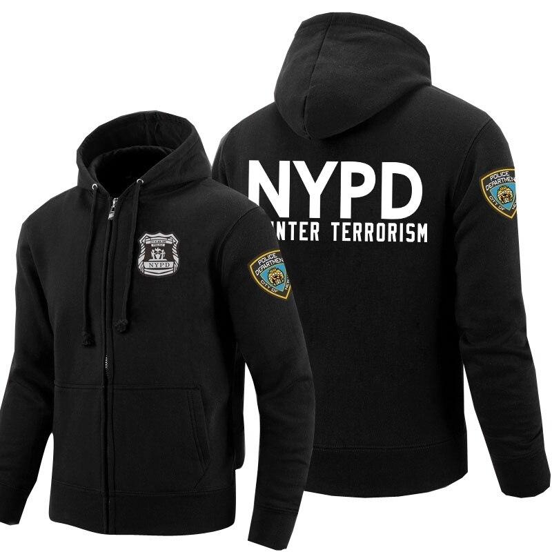 Police Sweatshirts Zipper Hoodies For Men Print City Of New York Fleece Winter Clothes Hoody Cotton Coats For Women Cosplay