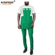 Африканский мужской костюм Дашики рубашка с принтом комплект