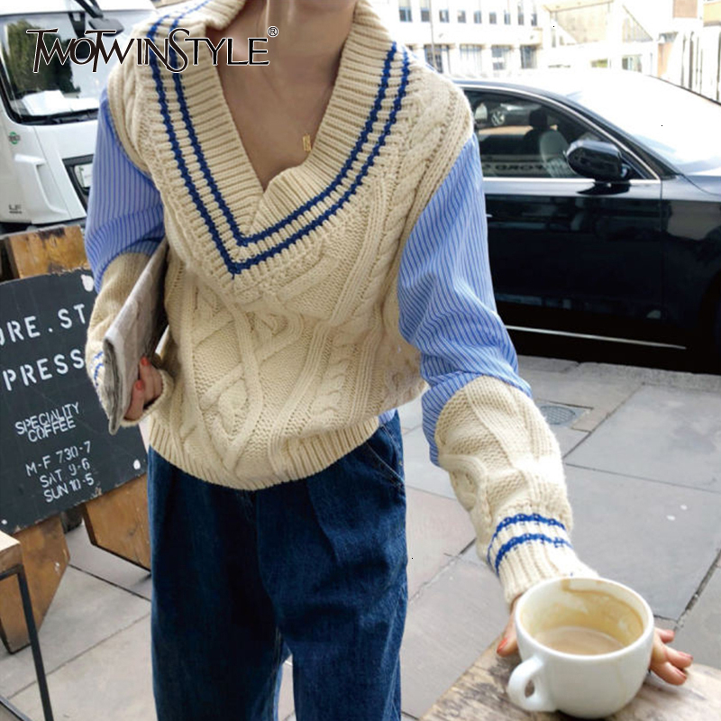 TWOTWINSTYLE Patchwork Hit Color Knitting Pullovers Female V Neck Long Sleeve Casual  Autumn Sweaters For Women Fashion 2020 New
