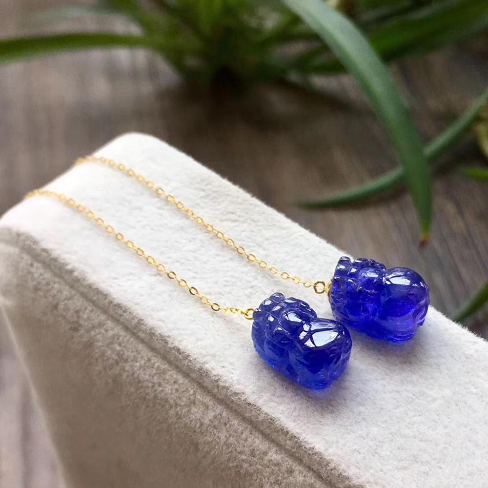 Collier pendentif Tanzanite glace bleue naturelle pour femme homme chaînes en or 18K 11x7x6.8mm pierres précieuses pierre de guérison perles pendentif AAAAA