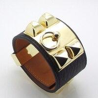 Top Quality Punk Bracelets Wide Calfskin Genuine Leather Bracelets & Bangles For Women Cuff Bracelet Suited Wrist Size 14.5 17cm