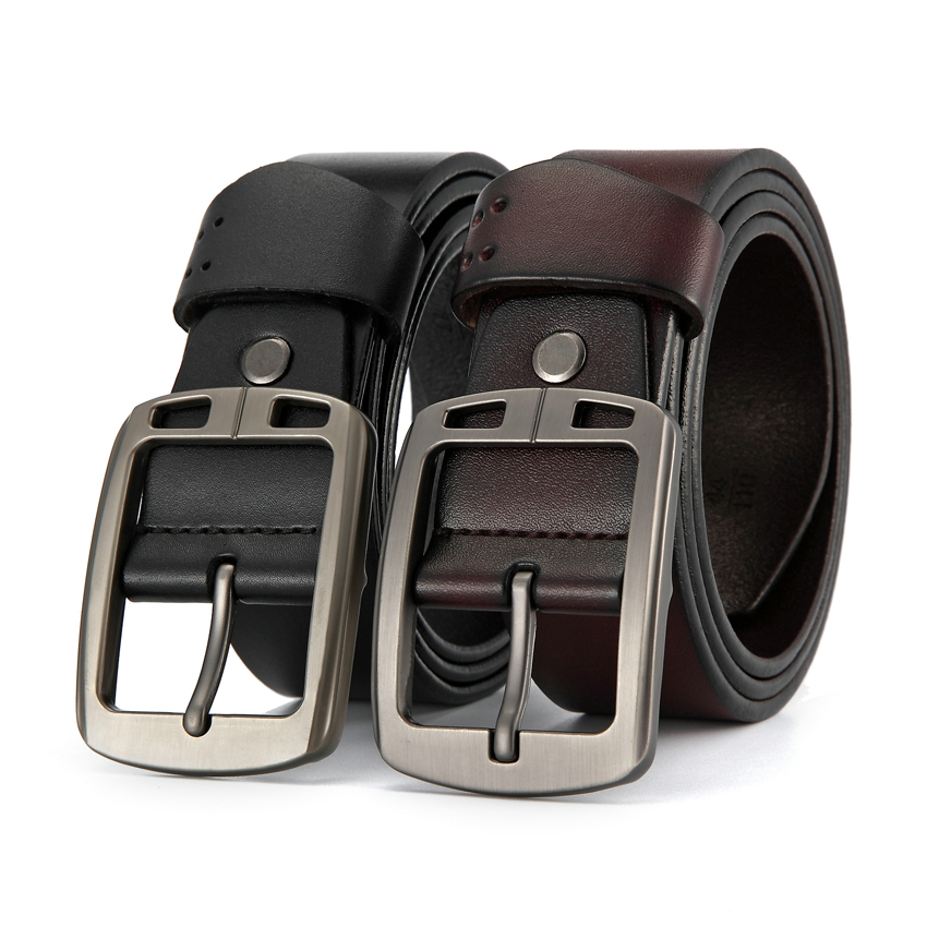 Marque de luxe hommes ceinture en cuir véritable remplacement métal boucle ardillon ceinture pour pantalons costumes Vintage noir peau de vache ceintures mâle cadeau