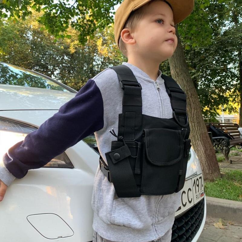 Kids Chest Rig Bag Children Streetwear Hip Hop Street Dance Tactical Vests Fashion Adjustable Pockets Waistcoat For Boy Girls
