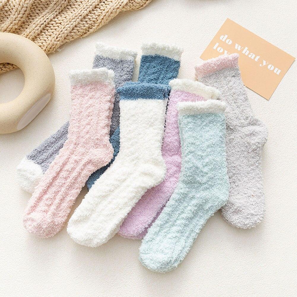 Algodão heap heap laço design grosso oco para fora meias femininas sólido bonito doce cor meias harajuku reto criativo calcetines mujer