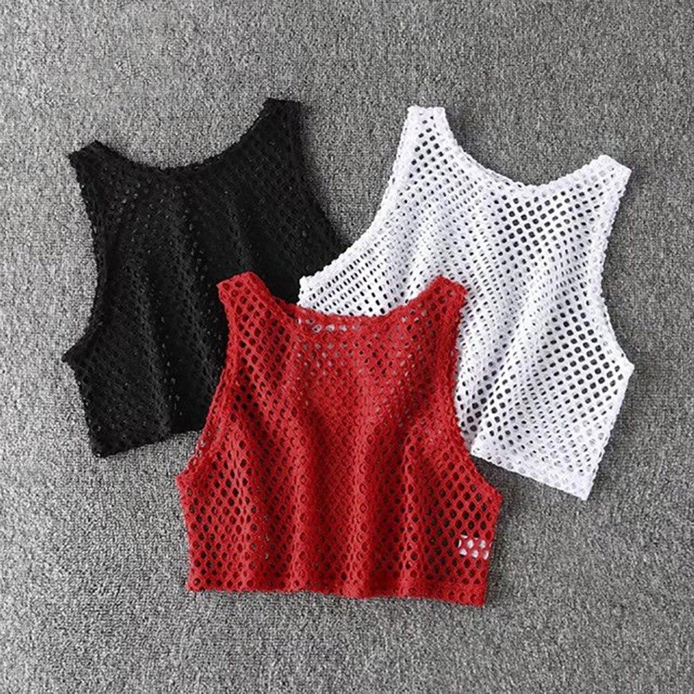 Sexy Womens Fashion Netted Shirts Round Collar Shirts Casual Sleeveless T-Shirt Hollow Out Crop Tops Women Fishnet Shirt #Zer