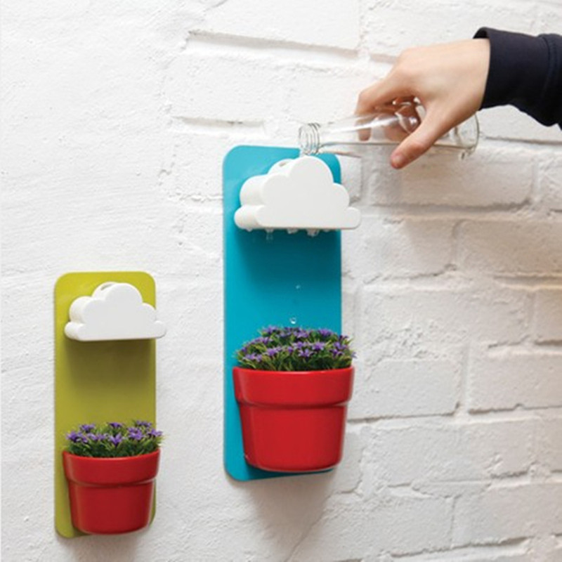 Fun Clouds Rainy Automatic Release Water Wall Hanging Succulent Plants Egg Flowerpot Seeds Nutritional Soil Bonsai Vase Holder