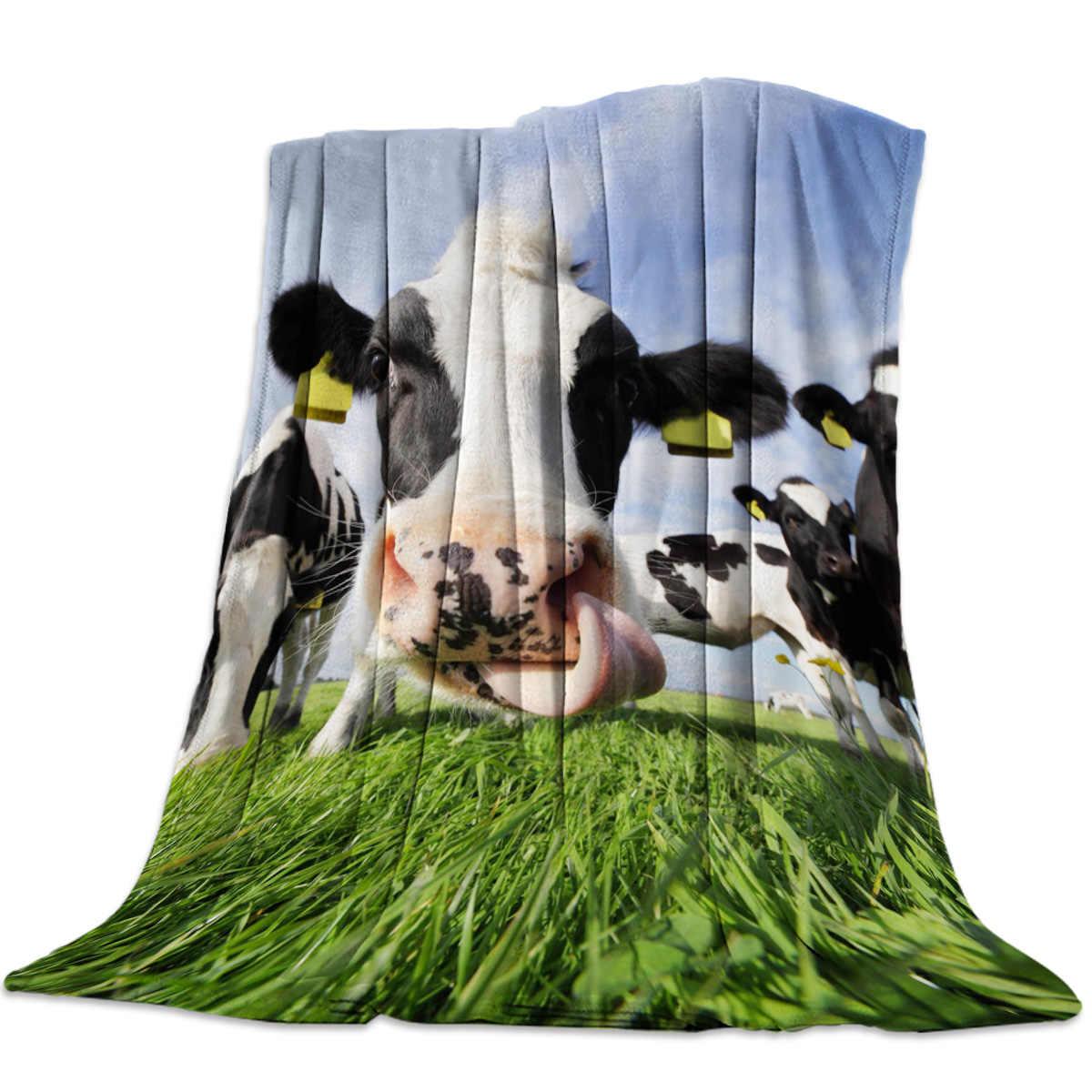 Sapi Biru Langit Awan Putih Prairie Peternakan Peternakan Indah Karang Bulu Fuzzy Selimut Di Tempat Tidur Kain Penutup Selimut Bedsheet untuk Anak-anak Gadis