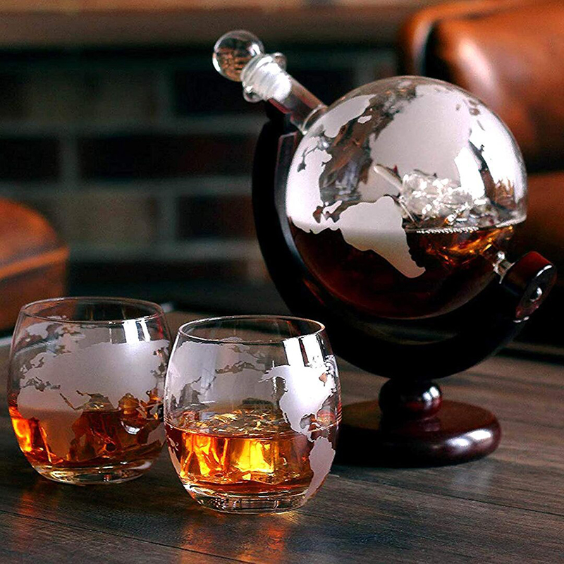Creative Globe Decanter Set with Lead free Carafe Exquisite Wood stand and  2 Whisky Glasses Whiskey Decanter Globe Grade Gift|Decanters| - AliExpress