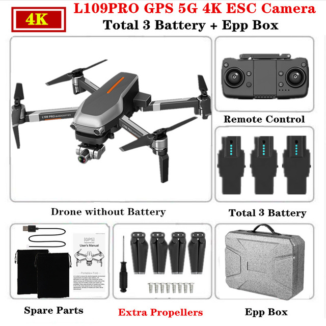 2020 New L109pro Drone With Gps 4k Quadcopter Mechanical Two-axis Anti-shake 5g Wifi Fpv Hd Esc Camera Brushless Helicopter