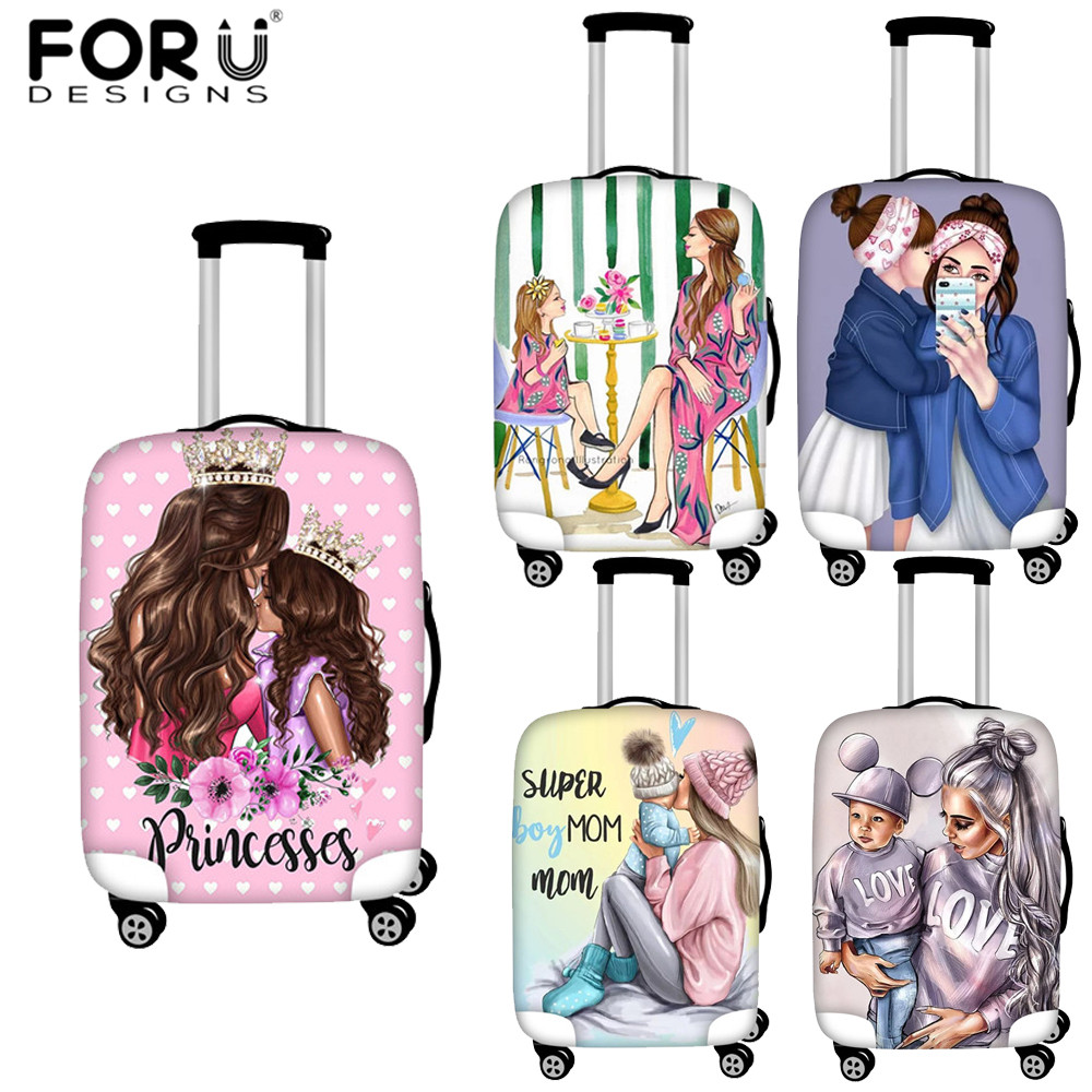 FORUDESIGNS Cartoon Girls Queen Super Mom Print Luggage Cover Travel Accessories Trolley Suitcase Case Baggage Protective Covers