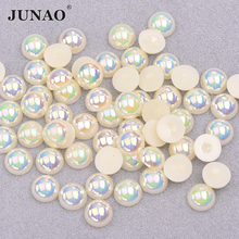 JUNAO 6 8 10 12mm White AB Pearl Beads Half Round Bead Rhinestone Applique Flatback Crystal Stickers DIY Scrapbook Strass