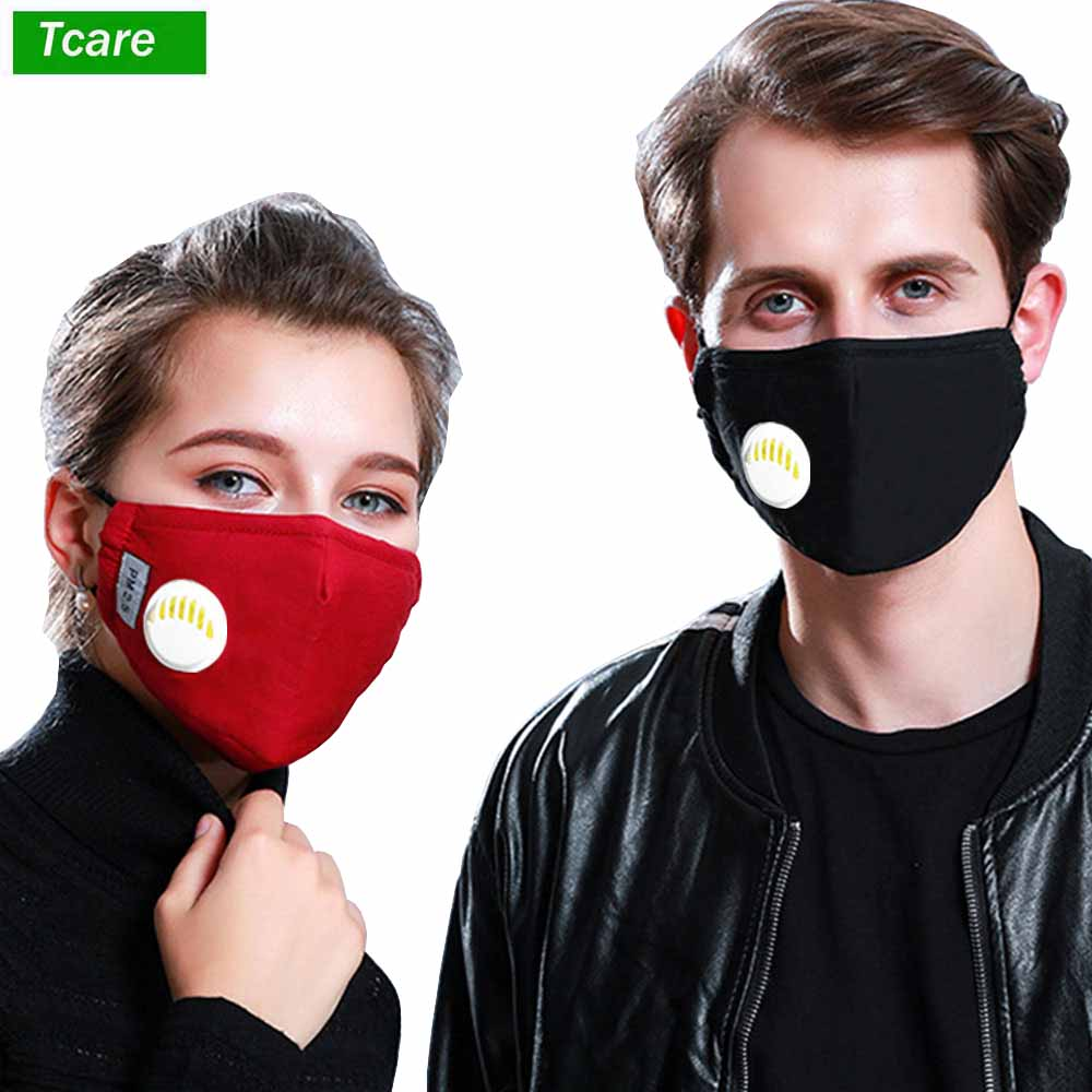 1Pcs Fashion Respirator Mask With Breathing Valve Washable Cotton Activated Carbon Filter PM2.5 Mouth Masks Anti Dust Allergy