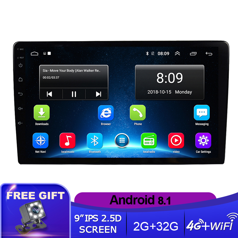 9 ''/10.1'' IPS Android 8,1 Universal 2 Din Auto radio GPS Navi Ca Multimedia Player Wifi Auto stereo Audio Video DVD Player