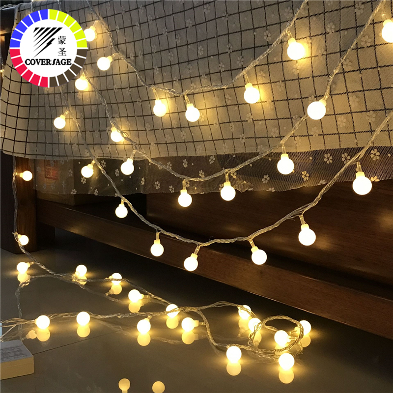 Coversage 6M 40 Led Christmas Tree Garland String Xmas Decoration Outdoor Ball Curtain Navidad Curtain Fairy Holiday Lights
