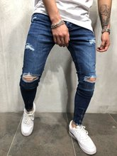 Men Streetwear Broken Knee Hole Skinny Jeans distressed Hip-hop biker Joggers Denim Pants
