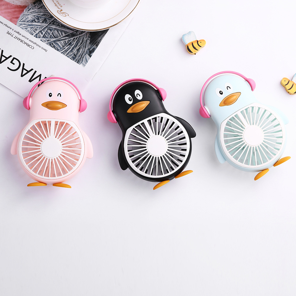 Usb Charge Penguin Fan Mini Hold Fans Student Outdoors Bring Sika Portable Pocket Small Fans
