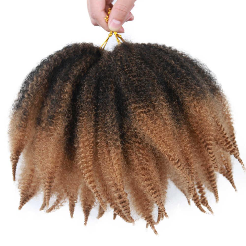 """8 """"بوصة لينة الأفرو غريب الطبيعية لينة مارلي تجديل تمديد لضفائر كروشيه اصطناعي ضفائر الشعر للنساء"""