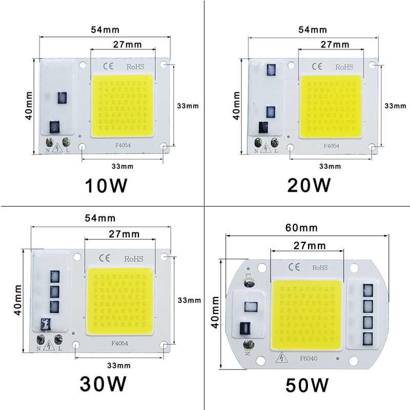 LED COB رقاقة التيار المتناوب 220 فولت 10 واط 20 واط 30 واط 50 واط الذكية IC لا حاجة سائق LED لمبة مصباح ل كشاف ضوء الأضواء في الهواء الطلق لتقوم بها بنفسك الإضاءة