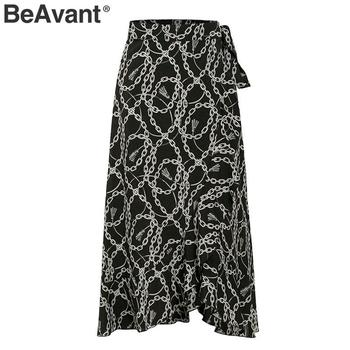BeAvant Summer Midi Skirts Black Women 2020 Print Lace Up High Fashion Wrap Sexy Skirt Female Spring A Line Skirts Holiday Lady 6
