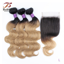 Bobbi Collection 3 Bundels Met Sluiting 200 G/set Body Wave Haar Weave Ombre Honey Blonde 12-22 Inch Indian non-Remy Human Hair