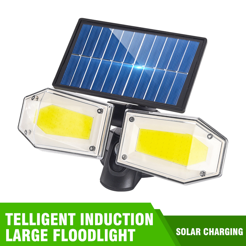 Solar Lights Outdoor 3 Optional Modes Motion Sensor COB Light Double Head Rotating With 270 Wide Angle Waterproof Security Light