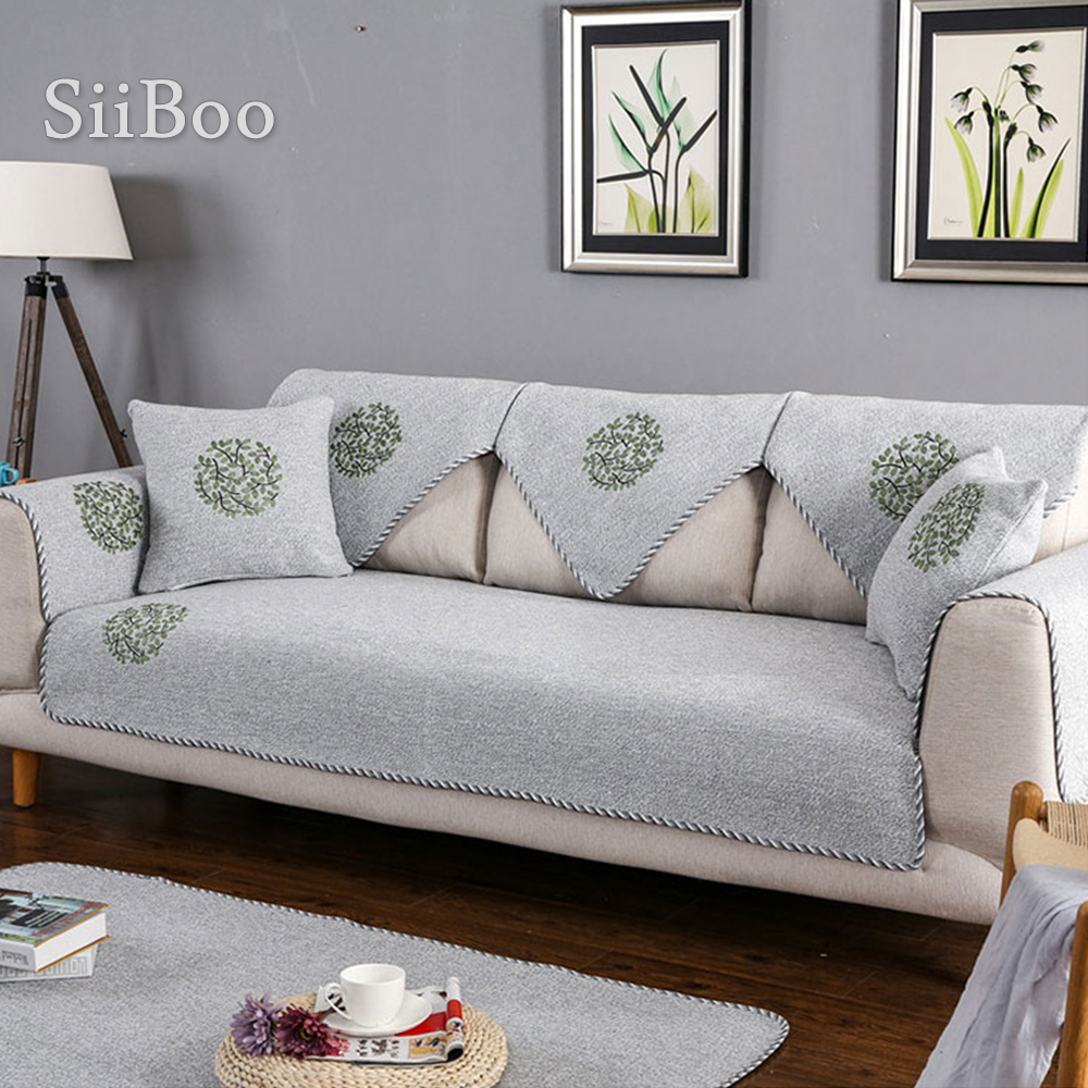 pastoral grey beige green sectional slipcovers leaves embroidery cotton sofa cover canape furniture covers sp4306 free shipping