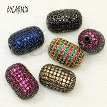 5 pieces rainbow zircon oval pendants whole beads micro pave zircon beads accessories for women crystal charm 50162