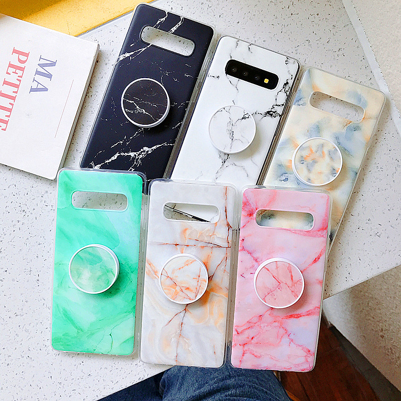 Phone-Holder-Cover Pop-Up-Socket Samsung A10 Tpu Case Soft-Silicone Note-9 Marble
