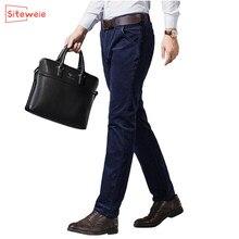 Siteweie 2020 novas calças de negócios para homens veludo solto altura da cintura meia-idade pai outono inverno calças elásticas g509