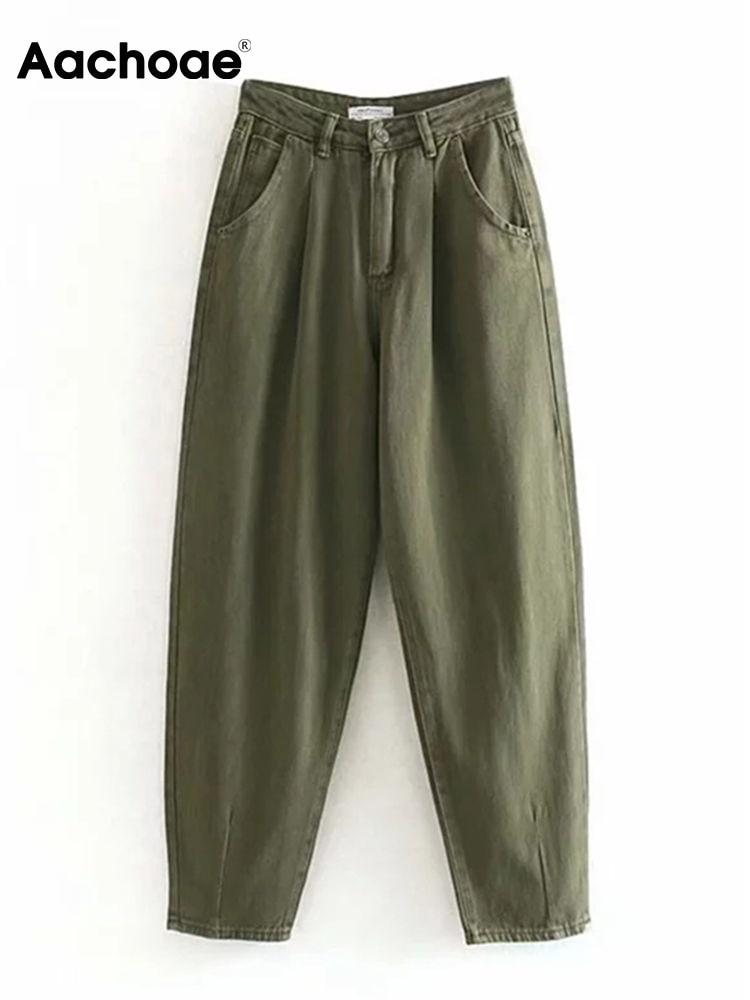 Aachoae Mom Jeans Trousers Boyfriend Pants Streetwear Loose High-Waist Women Ladies Denim