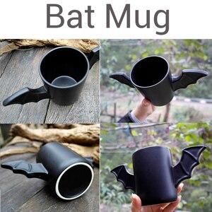 Image 2 - Taza de cerámica con diseño de alas de murciélago para hombre, taza creativa de cerámica con diseño de alas de murciélago de color negro, regalo de cumpleaños para amigos