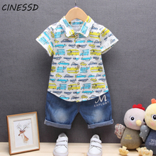 2020 Infant Kids Suits Baby Boys Summer Shirts+Denim Shorts 2pcs Toddler Boy Clothes Set Outfits Children For Bebe