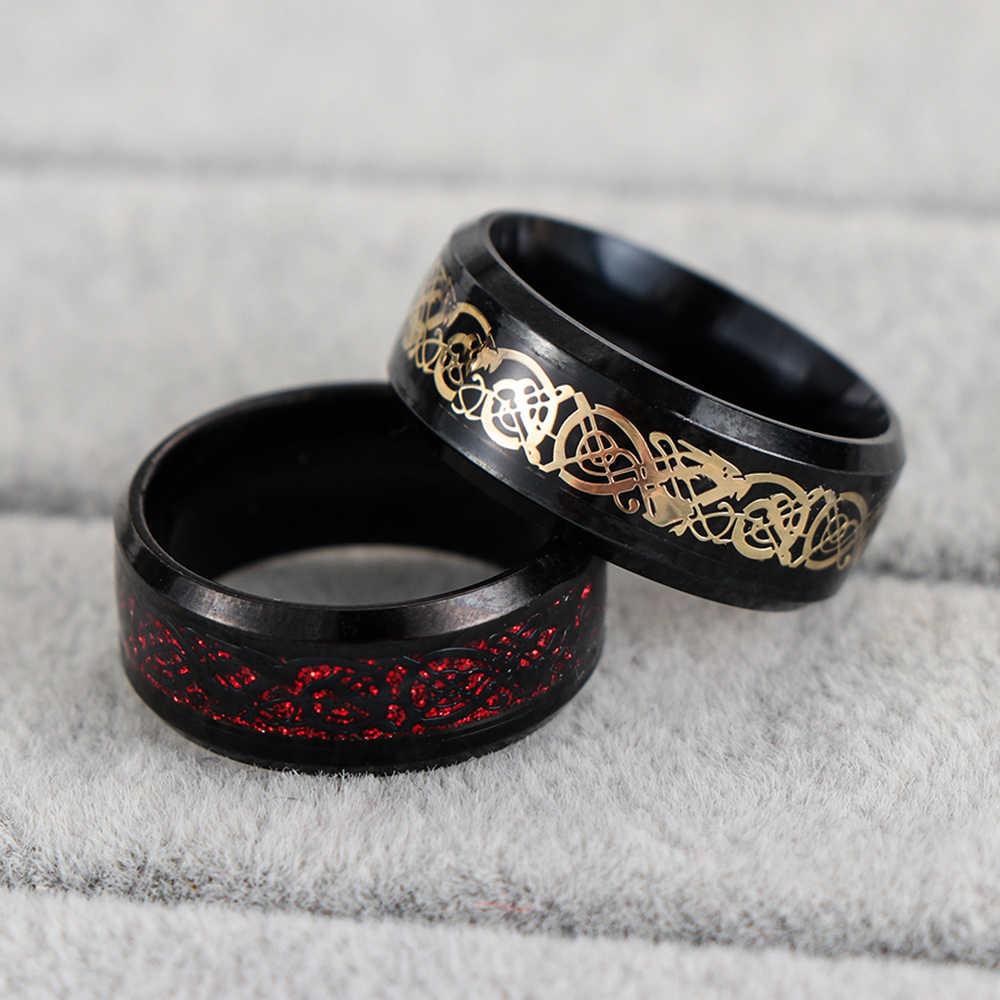1PC Men's แหวนสแตนเลส Cool สีดำไทเทเนียมมังกร Nice คู่ของขวัญเครื่องประดับชายขนาด 6 /7/8/9/10/11/12/13