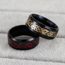 1PC Titanium Cool Punk Black Dragon Stainless Steel Men's Wedding Band Rings Nice Couple Male Jewelry Gift Size 6-13